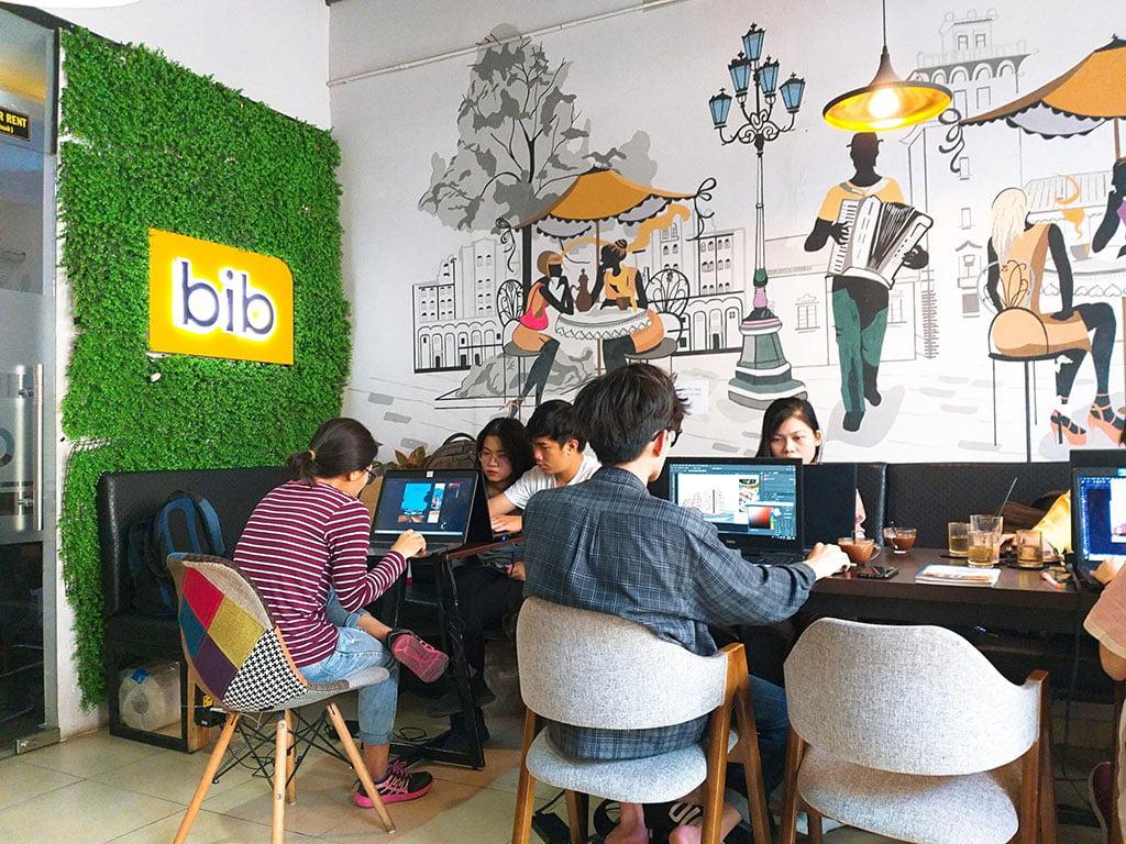 Cho thuê chỗ ngồi làm việc, học tập theo nhóm 10 người có thức uống giá rẻ tại quận Phú Nhuận HCM The bib Space