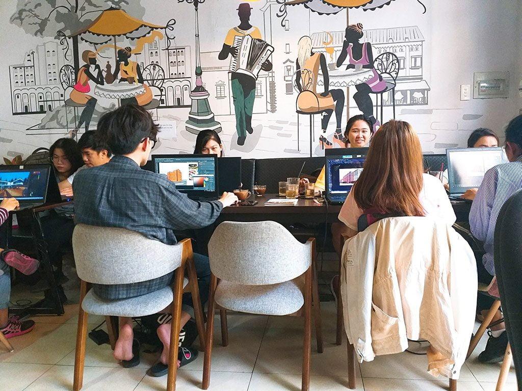 Không gian học tập theo nhóm 10 người dành cho sinh viên có thức uống giá rẻ tại quận Phú Nhuận HCM The bib Space