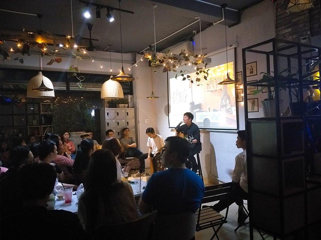 Không gian sự kiện âm nhạc 40 người có thức uống giá rẻ tại quận Phú Nhuận HCM The bib Space